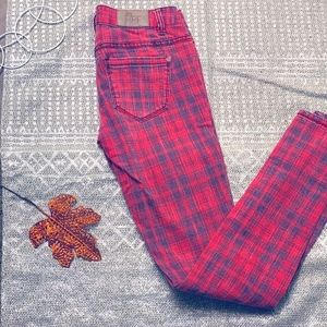 WHITE FIRE RED PLAID JEANS